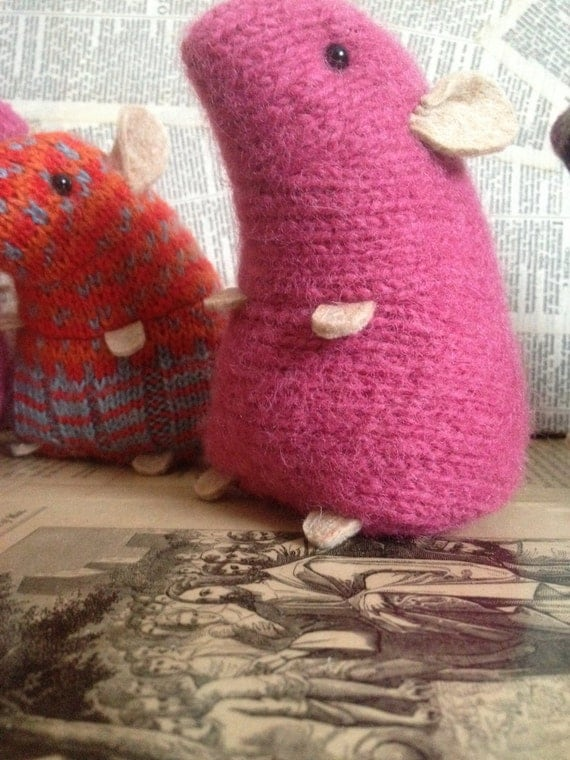 Knitting Pattern For Hamster Jumper : Pnk plush hamster made from recycled jumper sweater by raggyrat