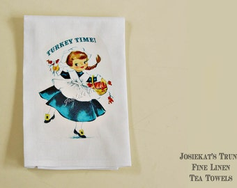 Hostess Tea Towel - Thanksgiving Tea Towel - Linen Tea Towel - Thanksgiving Hostess Present - Linen Hostess Gift Retro Turkey Time