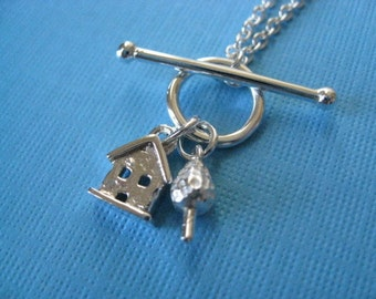 Tiny House and Tree Toggle Necklace Sterling Silver