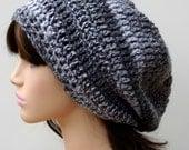 Marble gray grey Tam Dread Hippie Slouchy Dreadlocks Crochet Beanie Hat