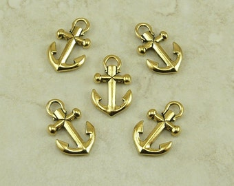 5 Small TierraCast Boat Anchor Charm > Sailing Yacht Wrap Bracelet Clasp - 22kt Gold plated Lead Free Pewter - I ship Internationally 2359