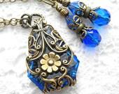 Floating Gardens - Filigree Wrapped Vintage Sapphire Glass Jewel Pendant Set