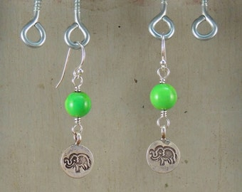 Lucky Elephant Earrings Hill Tribe Silver Mojave Turquoise