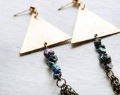 Fire in the Sky Rainbow Quartz Triangle Earrings / Triangle Earrings / Geometric Modern jewelry / Triangle Dangly Earrings
