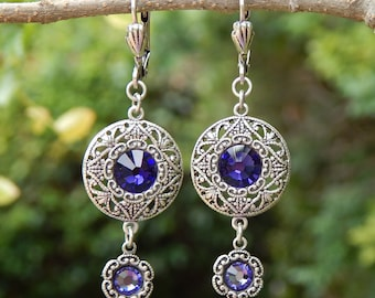 Circle Earrings- Antiqued Silver and Swarovski Crystal (E-098)