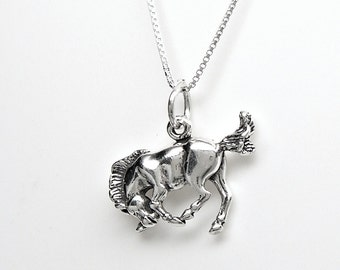 Sterling Silver Horse Bucking Bronco Charm Pendant Customize no. 2253