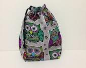 Small Project Bag - Festive Owls