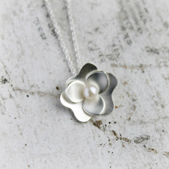 Sterling Silver Flower Necklace - Silver and Pearl Pendant - Gardenia Pendant