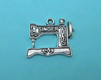 6 Sewing Machine Charms Silver Tone Metal (S143)