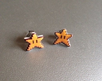 you're invincible - super mario 3 stud earrings