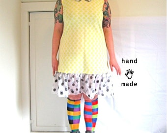 SALE - Dotty Dress - plus size, size 16, size 18, double polka dot fun, peter pan collar, yellow black white, chiffon ruffles -- 43B-41W-47H