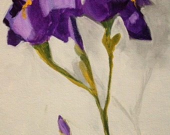Purple Iris Flower Painting, Original on Canvas, 8x10 Floral, Minimalist, Blooms, Buds, Spring Lavender Stem, Small Format Acrylic