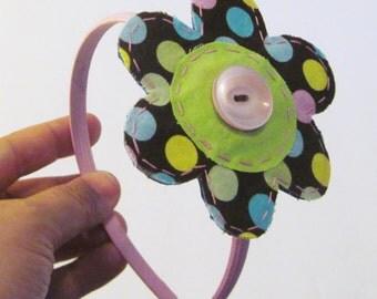 Handmade Scrappy Fabric Flower Headband,Hair Clippie Flower,Headband,Fabric Flower Clip,Pink Headband, Barrette,Alligator Clip,Ready to Ship