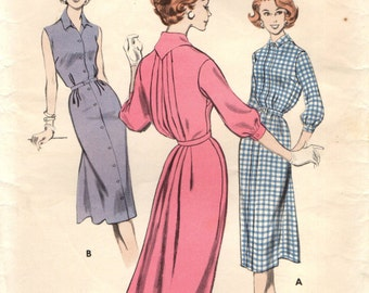 Butterick 8221 Fantastic Back Blousing Dress VINTAGE ©1957