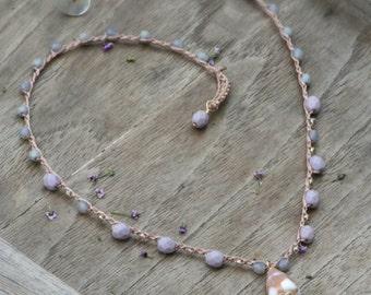 Hawaiian Cone Shell Necklace - Crocheted, Beachy Boho