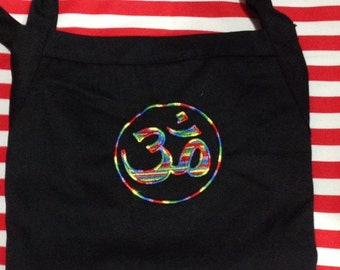 """AUM Black BBQ Apron Embroidery 34""""  Made To Order"""