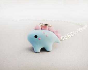 Kawaii Cotton Candy Pastel Blue and Pink Stegosaurus Dinosaur Necklace