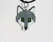 Wolf Beaded Necklace Pendant.