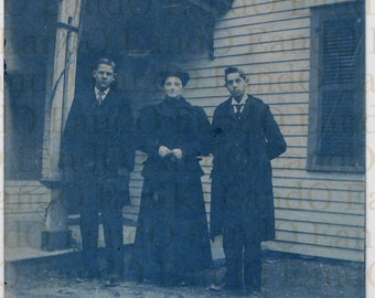Antique Victorian Cyanotype (Photo) 1890s - Young Men and a Young Woman (Partially Identified)