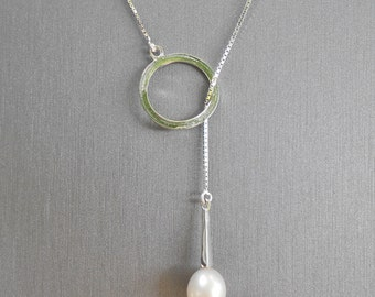 White Pearl & Sterling Lariat Necklace
