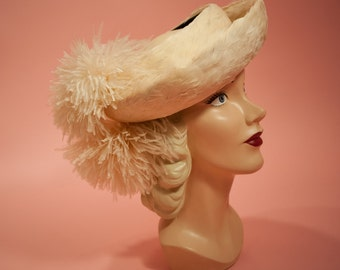 1940s Open Crown Pale Peachy Pink Feather Hat - Ostrich Pom Poms - The Gray Shop