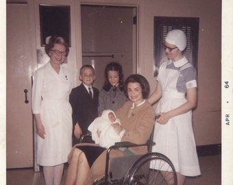 vintage photo 1964 Color photo New Mother Baby Nurse in Weird Skull Cap Wheelchair