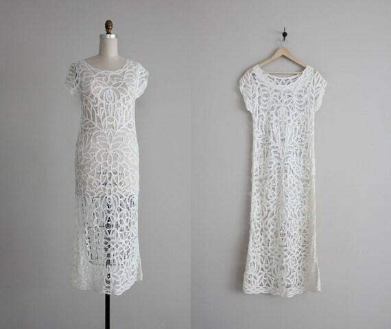 RESERVED FOR LUCILLE - white lace dress / long white dress / white crochet dress