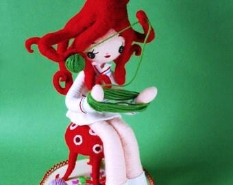 Print: Octo-Girl (green) - needlefelted felt octopus art plush toy doll photograph