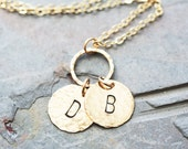 2 Personalized Hammered Gold Filled Pendants and Circle Necklace - 5/8 Inch