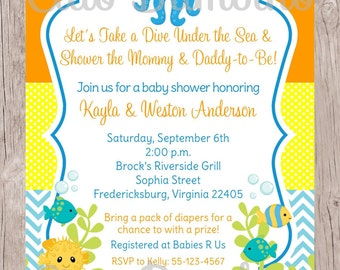 PRINTABLE Under the Sea Invitation for Baby Shower / Gender Neutral Under the Sea Invitation / Boy or Girl / You Print - 0023