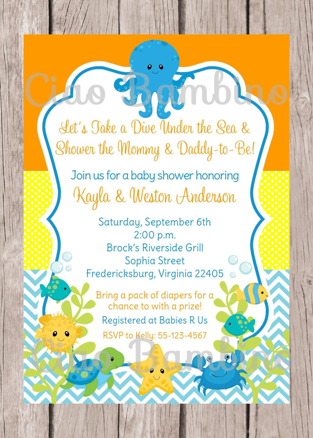 printable under the sea invitation for baby shower gender
