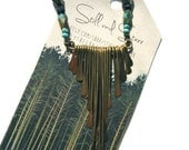 Fringe Necklace with Afghan Turquoise, Hammered Brass, Faceted Pyrite