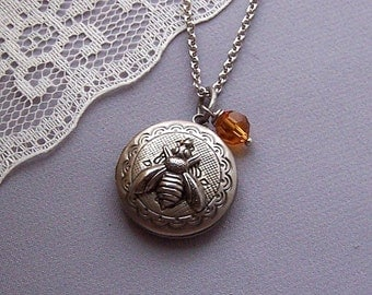 Bee Locket Necklace...Silver Locket , Keepsake Necklace, Silver Ox Plated Locket, Photo Locket, Jewelery, Locket Necklace - 4044