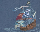 Sailing Ship XX - Block Print with Mixed Papers - Lino Block Print Historic Sailing Ship, Exploration, Collaged Japanese Papers