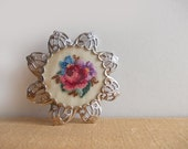Embroidered Jewelry, Vintage Petit Point Embroidered Brooch / Embroidered Pendant, Pretty Rose in Filigree Silver Metal Pinback Setting