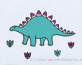 Hand Pulled Screen Print - Sweet Stegosaurus - dinosaur 10 x 8 - nursery