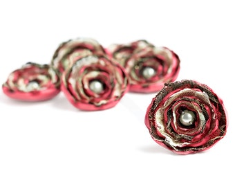6 fabric flowers - handmade dusty pink, brown, cream and golden sew on flowers, home decor, satin embellishments, wedding flowers, appliques