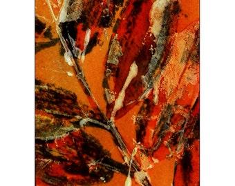 Art Card, Autumn Leaves, Original Watermedia Art, Rust Colored Leaves - Fall, ACEO, SFA, Leaf Season Art, Mom Gift, Art Gift, Friend Gift