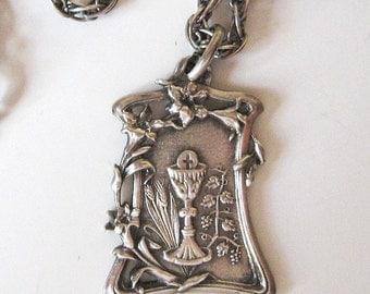 SALE Antique Sterling Silver Art Nouveau Communion Medal and Chain