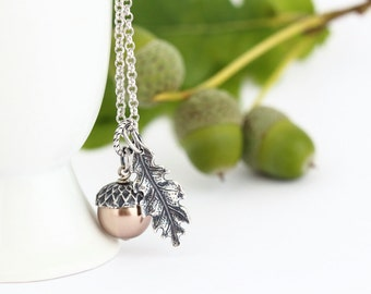Gift For Mom, Acorn Pendant, Pale Bronze Pearl Acorn Necklace, Silver Oak Leaf Charm, Sterling Silver Chain, Winter Wedding, Autumn Necklace