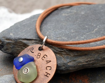 BEACH - Sterling Silver, Copper and Sea Glass Pendant