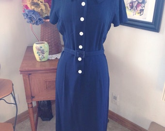 SUPER SALE Vintage 1950s Dress navy blue 1960s S M secretary rockabilly