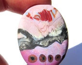 Handmade Lampwork Glass Focal Bead Pendant pink red ivory silver
