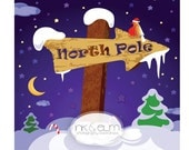 """Photography Backdrop 6ft x 6ft, Winter Holiday Vinyl Photography Backdrop, Photo Backdrop Winter Prop, Christmas Backdrop """"North Pole"""""""