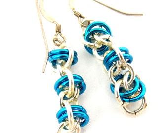 Chainmaille Earrings, Bright Blue Earrings, Silver Earrings, Dangle Earrings, Handmade Chainmail Jewelry