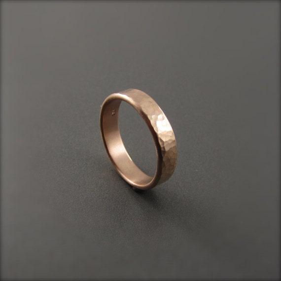 Hammered Rose Gold Wedding Ring
