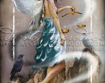 Art Retirement SALE / Libra / ZODAIC / Print Fairy / Fantasy Art / fairy pictures  /Fairy Art