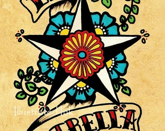 Old School Tattoo Star Art LA ESTRELLA Loteria Print 5 x 7, 8 x 10 or 11 x 14