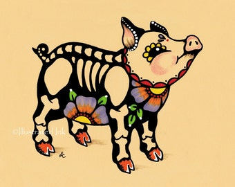 Day of the Dead PIG Piggy Dia de los Muertos Art Print 5 x 7, 8 x 10 or 11 x 14