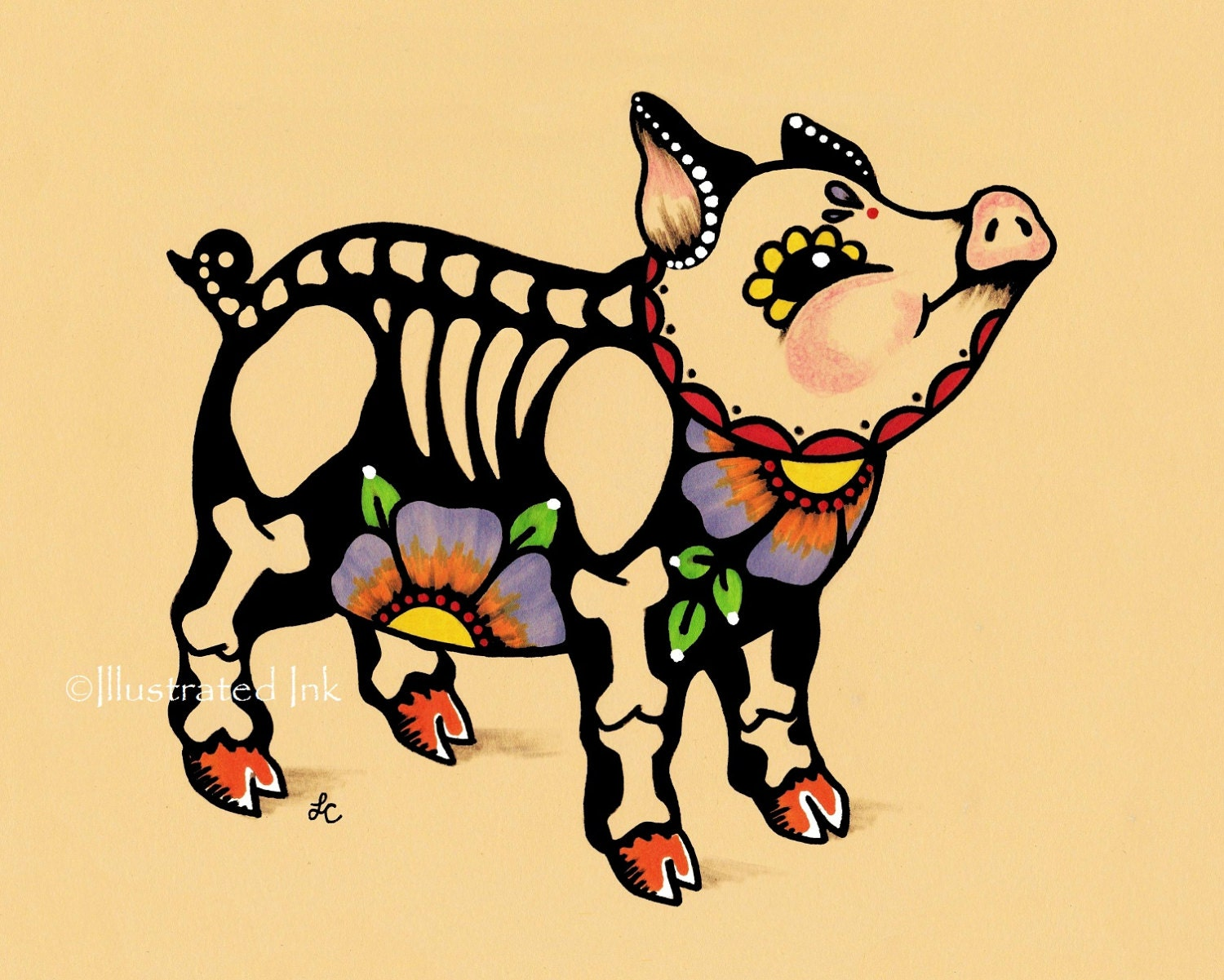 day of the dead pig piggy dia de los muertos art print 5 x 7